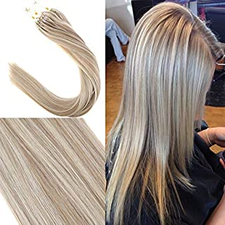 YoungSee 20inch Micro Ring Remy Hair Extensions Highlight Blonde witn Ash Blonde Micro Loop Human Hair Extensions 1g/strand 50 Strands Hair Extensions Micro Ring Loop Hair Extensions