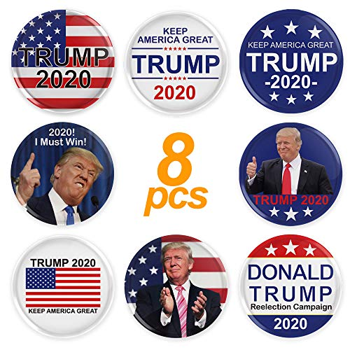 Trump 2020 Buttons, Keep America Great Trump 2020 Presidential Election Campaign Buttons-Donald Trump Election Button, Pack of 8