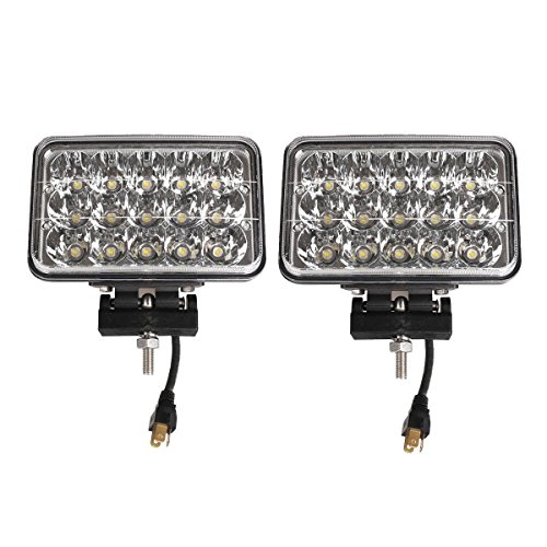 Lightronic 4X6 Inch Rectangle 45W 6000K Nature White Super Bright LED Off-Road High Performance Auxiliary Driving Light, Driving/Spot Combo Beam Pattern, IP69 Waterproof Rating, 2 Pieces
