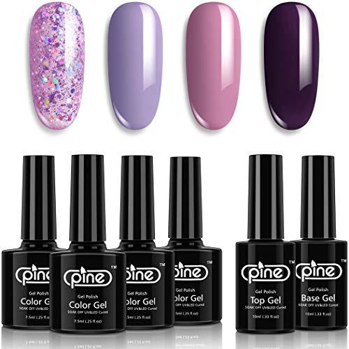 Pine Gel Nail Polish Purple Colors Set Lavender Glitter 7.5ml with Base Coat No Wipe Glossy Top Coat 10ml Soak Off UV LED Cure