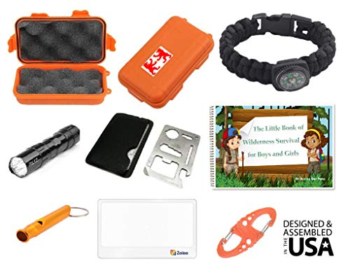 EZ Outdoor Adventure Kit for Boys and Girls The Little Book of Wilderness Survival, Waterproof Box, Multi-Functional Tool, Magnifying Lens, Paracord Bracelet with Compass, Whistle, Flashlight, Hook