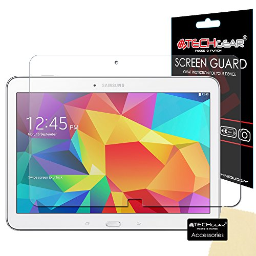 TECHGEAR Screen Protector for Samsung Galaxy Tab 4 10.1 Inch (SM-T530 / SM-T531 / SM-T535) - Ultra Clear Lcd Screen Protector Guard Cover With Screen Cleaning Cloth & Application Card