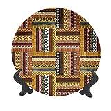 Plato decorativo de cerámica de 25,4 cm, motivos orientales tradicionales con colores tribales de la cultura nigeriana Elementos decorativos de cerámica para mesa de Navidad