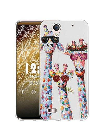 Sunrive Kompatibel mit Sony Xperia C4 Hülle Silikon, Transparent Handyhülle Schutzhülle Etui Hülle (Q Hirsch)+Gratis Universal Eingabestift MEHRWEG