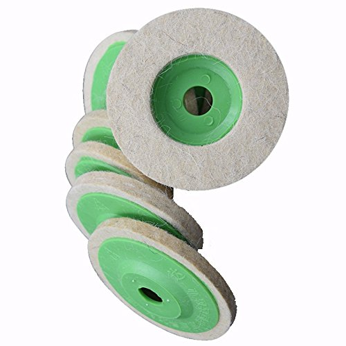 5pcs 100mm 4' 4 inch Wool Buffing Polish Polisher Polishing Wheel Pad Buffer Disc Bore Dia 16mm