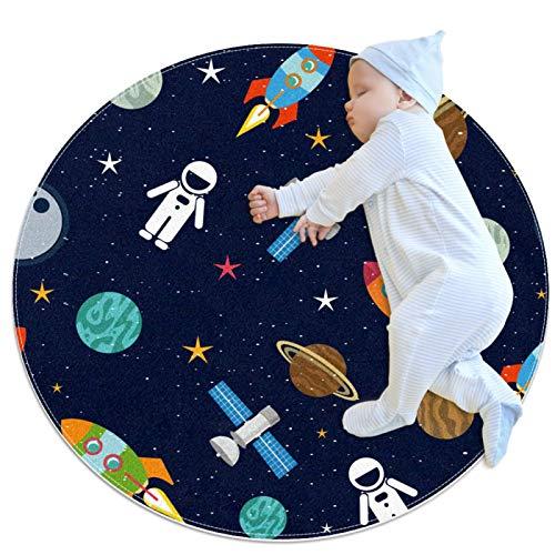 Round Kids Rug Round Carpet Non Slip Round Area Rugs Washable Floor mat,Spaceship Stars Planets with Rockets