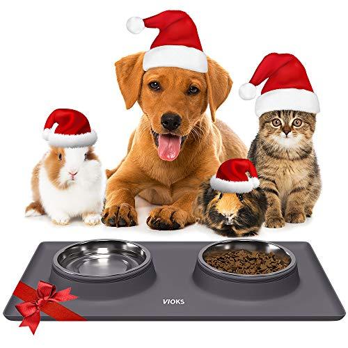 Hundenapf Katzennapf Fressnapf Edelstahl mit Silikon Napfunterlage Hund Katze
