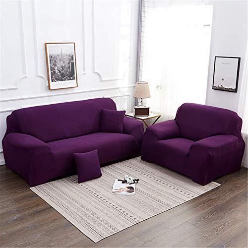FSYGZJ Funda de sofá Universal, Funda de sofá elástica Tejida, Funda de sofá de 1 Pieza, Fundas Protectoras de Muebles Lavables para Sala de Estar, Color Morado.2 Asiento 140-180cm (55-71 Pulgadas