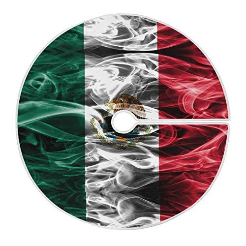 Oyihfvs Mexico Flag 35.4' Small Mini Tree Shirt Circular Mat Ornament for Christmas Xmas Party Holiday Decorations