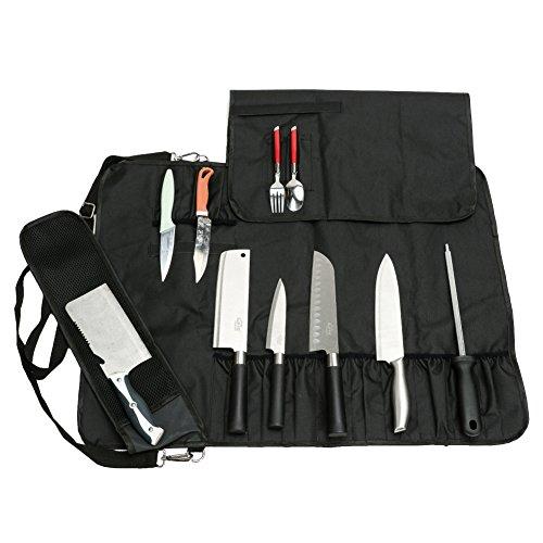 HANSHI Utilidad de Servicio Pesado 17 Ranuras, Cuchillo de Chef Bolsa de Rollo, Bolsa de Cuchillo portátil, Estuche de Almacenamiento con Correa para el Hombro