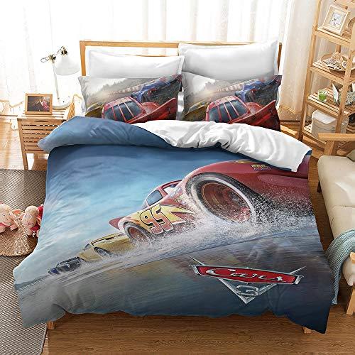 YBBY-U Juego de ropa de cama infantil de Disney's Cars · 2 piezas · 1 funda de almohada de 75 x 50 + 1 funda nórdica (Y06,135 x 200 cm + 75 x 50 cm x 1)