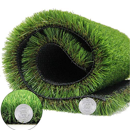 Artificial Grass Turf - Fake Grass Lawn Synthetic Rug Fake Carpet for Garden Doormat Landscape Outdoor Indoor Rubber Backed with Drainage Holes, 1.38 inch Pile Height