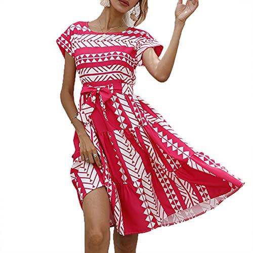 Primavera Y Verano, Jersey Informal para Mujer, Cuello Redondo, Estampado GeoméTrico, Cintura, Vestido De Manga Corta para Mujer