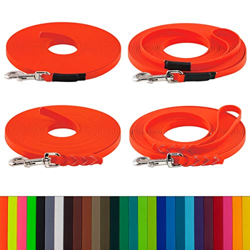 LENNIE BioThane Schleppleine, 10m, Neon-Orange, 16mm für große Hunde, genäht/geflochten, Handschlaufe & Karabiner wählbar
