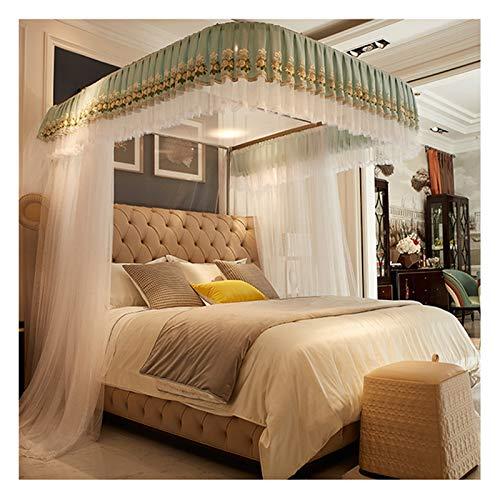Mosquitero Para Camas Mosquitera De Encaje Con Dosel Para Cama Para Cama De Niñas, Cortinas De Cama Con Dosel De Riel Blanco En Forma De U-3 Aberturas-decoración De Dormitori(Size:for 1.8×2.2m bed)