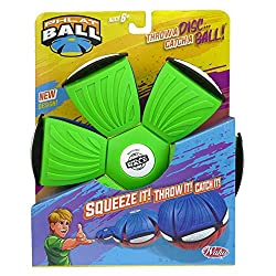 "Throw a disc, catch a ball! Phlat Ball is a unique transforming toy that turns from a 9"" flying disc to a 6"" diameter ball Phlat Ball V4 has a fresh new design with cool colours and spider design! With a soft, flexible plastic material Phlat Ball has..."