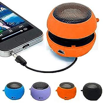 Dicrey Mini Speaker 3.5mm Mini Hamburger Speaker Music Player Plug in Speaker for Tablet PC MP3 Cell Phone  Orange