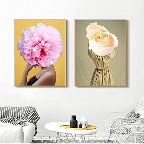 Cuadro modular de lienzo impreso para decoración de dama, diseño de flores, 2 unidades, 50 x 70 cm, sin marco