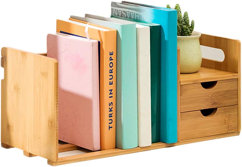 Table Bamboo Bookshelf,Adjustable Multifunctional Open Shelf Storage Rack Easy Assembly Simple Storage Organizer Office Dorm-D 50x19x21cm(20x7x8inch)