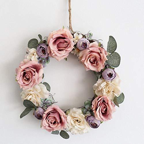 Meerdere stijlen zijde pioen kunstbloemen kransen deur perfecte kwaliteit simulatie guirlande voor bruiloft home party decoratie, 25cm roze roos