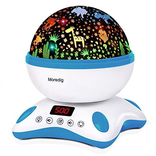 Moredig Proyector Estrellas Bebé, Lámpara Proyector Infantil Luz Nocturna con Rotación y Música, Función de Temporización y Control Remoto, 8 Modos Luz de la Noche, Perfecto Regalo Navidad - Azul