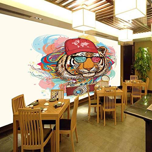 Behang fotobehang muur muurbehang modern slaapkamer vensterblik slaapkamer venster wanddecoratie -woonkamer kantoor kleurrijke Coole tijgerprint 400CMx280CM