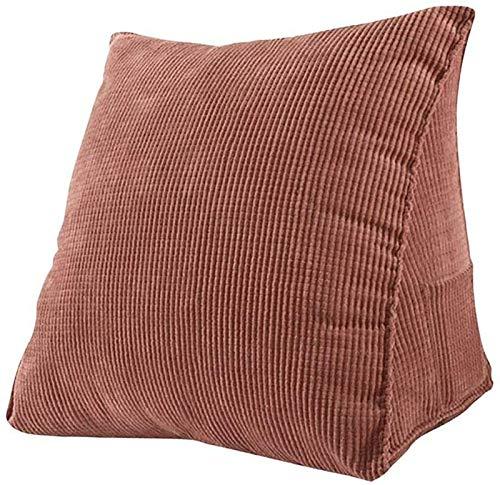 GONGMICF Cuscino Triangolare,Cuscino da Lettura,Supporto per Il Collo,Federa Lavabile Velluto a Coste per Divano Letto Sedia da Ufficio Schienale Decorazione Brown
