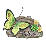 "Exhart ""Believe"" Butterfly Garden Statue – Green Butterfly & Flower Garden Figurines - UV Treated Resin, Outdoor Butterfly Decorations – Cute Butterfly Inspirational Gifts - 11"" L x 3.5"" W x 8"" H"