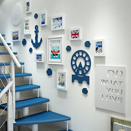 Cadre de Mur Photo Solide Bois Photo Mur Salon Combinaison Entrée Photo Européenne Escalier Mur Creative Mur Design à la Mode (Couleur : B)