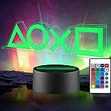 Lampada da notte a LED 3D - Xpassion 16 Colori Lampada Playstation Icons, Lampada da Tavolo a LED dimmerabile con Telecomando per Bambini [Classe di efficienza energetica A+]