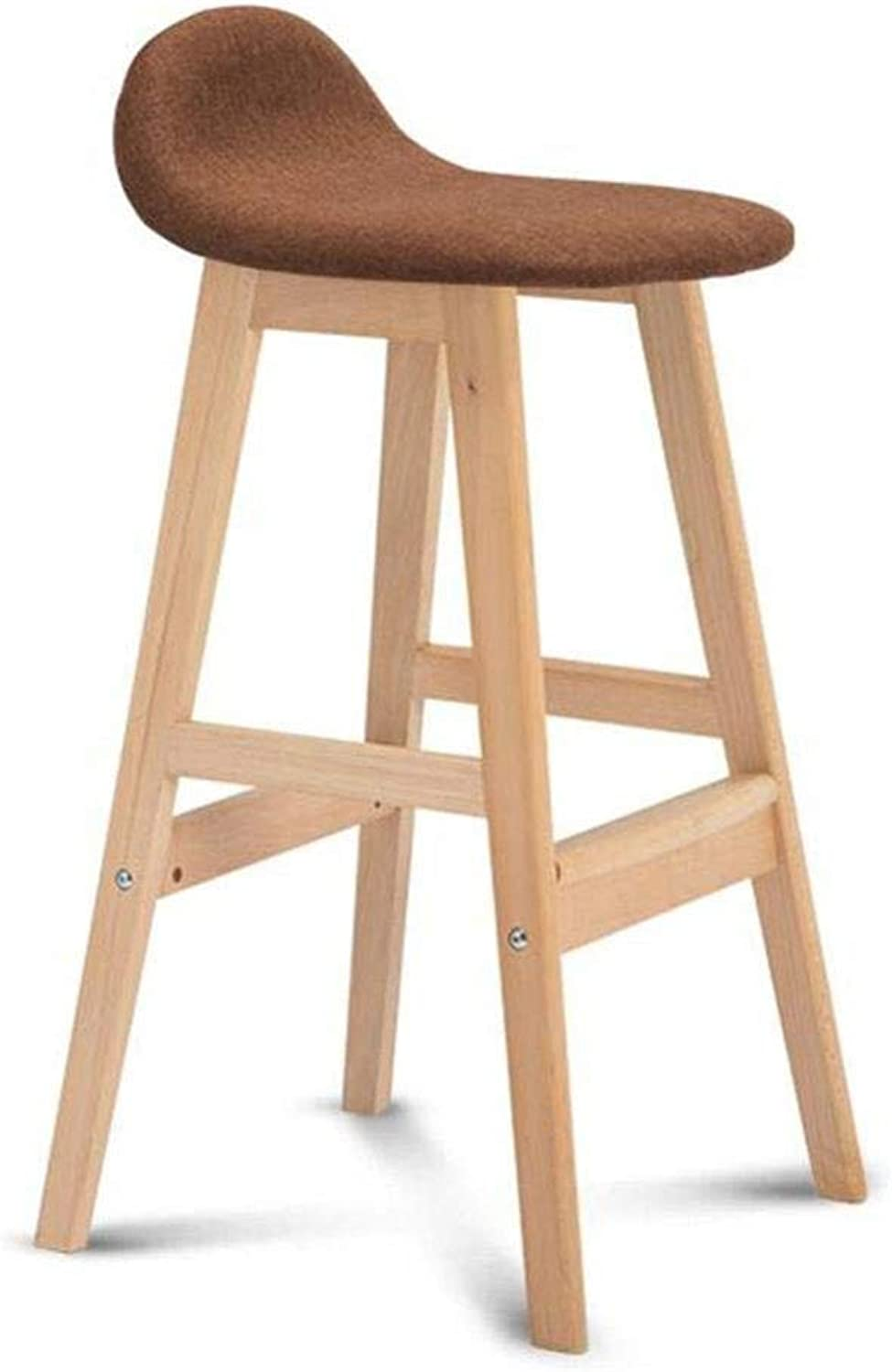 Bar Chairs High Chair Solid Wood Modern Kitchen Breakfast Stool Removable Linen Cover,A