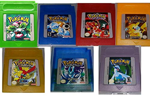 Pokemon Gameboy Color Collection 7-Pack (Green, Blue, Red, Yellow, Gold, Crystal, Silver) USA