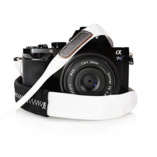 Foto&Tech Padded Neck Shoulder Strap with WHITE Grosgrain Ties for Fujifilm Samsung Sony Olympus Panasonic Canon Nikon Pentax Compact Cameras Point and Shoots Cameras [並行輸入品]