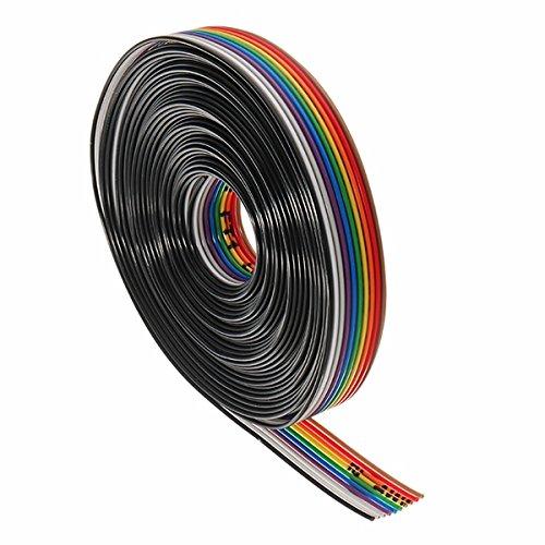 RoXane 5 Mètres/Lot 10 Câble Plat De Câble D'Arc-En-Ciel De Ruban D'Arc-En-Ciel D'Arc-En-Ciel De 10 Voies Lancement De 1.27Mm Approprié Aux Cors De Lancement De 2.54Mm