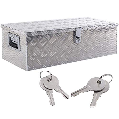 Yaheetech 30 x 13' Aluminum Trailer Tool Box Chest box Pickup Truck Bed Storage Toolboxes Organizer Side Handle, Lock w/ 2 Keys, Silver