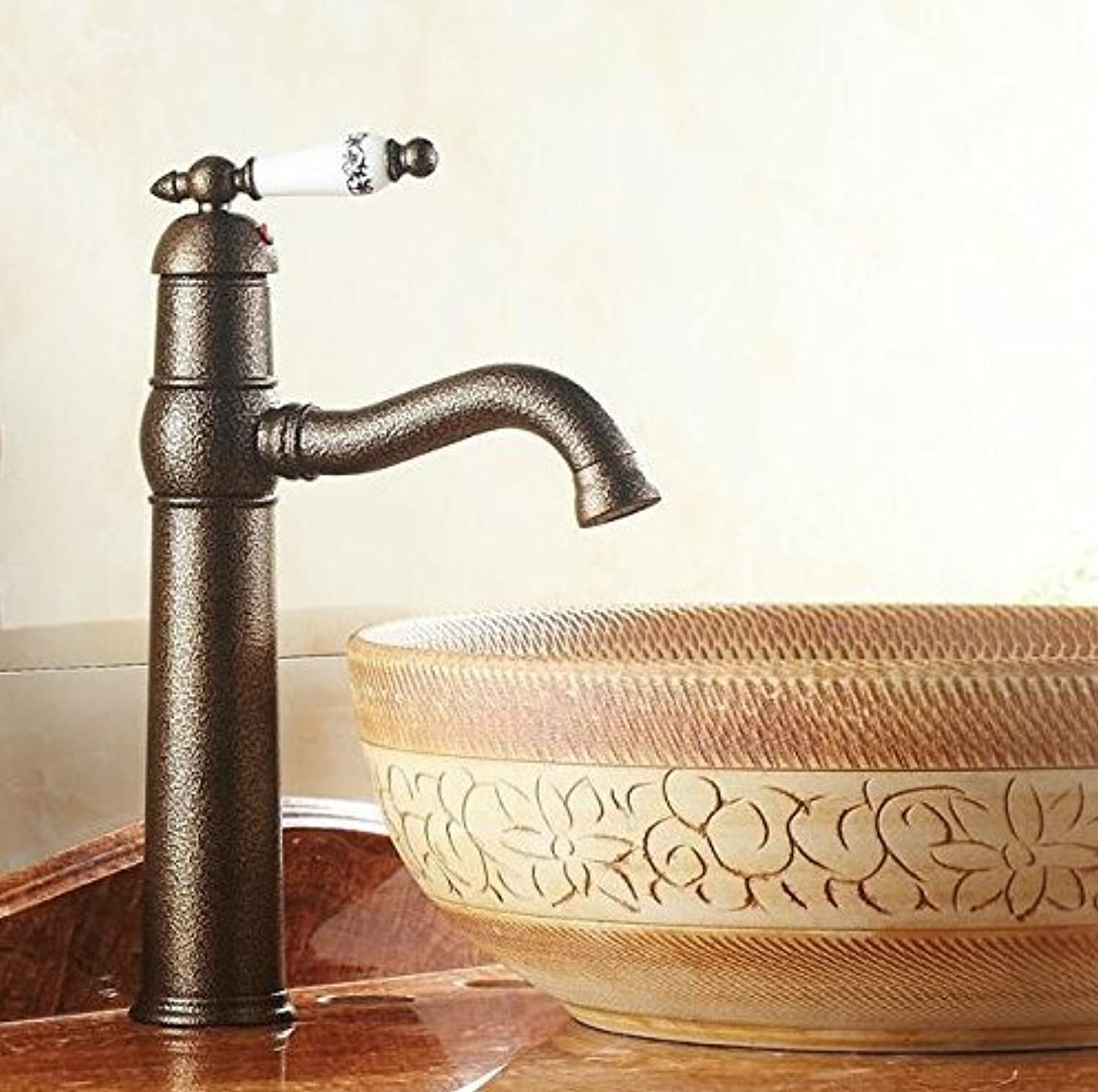 Diongrdk Antique Brass Bathroom Faucet with Ceramic Handle Basin Mixer Tap Hot and Cold Tap