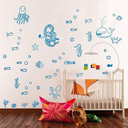 Mermaid Wall Decal Fairytale Ocean World Decal Bathroom Decor for Girls Room Kids Room Wall product image