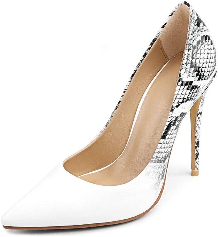 Morefor  Stiletto Stiletto Pumps für Frauen Two Tones Sandaletten Faux Snake Skin Slip on Schuhe Classic Sexy Pointed Premium Leather Weiß Elegant (Farbe   11.5cm Heel, Größe   34 EU)  willkommen zu wählen