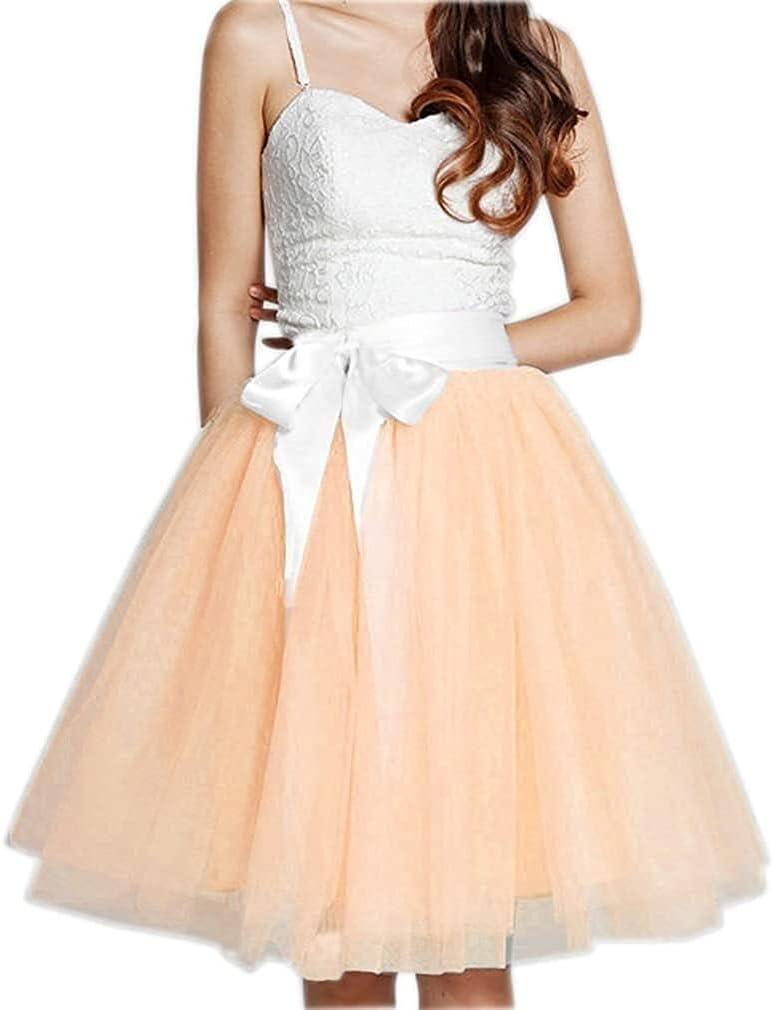Women's XL Long Skirt, A-line Short Skirt, Tulle Long Skirt, Tulle Wedding Dress, Tulle Dress (Color : Peach, Size : Medium)