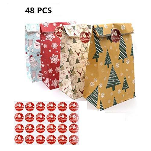 Calendario de Adviento de Navidad, Bolsas de papel Kraft de copo de nieve de Navidad para DIY Bolsas de regalo con etiquetas colgantes de Navidad, Bolsas de calendario de Navidad (48 Piezas)
