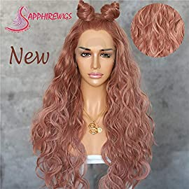 Sapphirewigs Long Light Dark Champagne Daily Queen Daily Makeup Mother's Day Gift Synthetic Lace Front Wedding Party Wigs