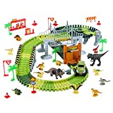 LEXSO Race Track Dinosaur Toys Roller Coaster Bridge Create...