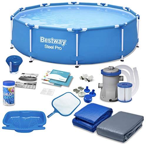 Scopri offerta per Bestway Steel PRO Piscina con Pompa Filtro e Cartuccia, 4678 Litri, Bianco, 305x305x76 cm