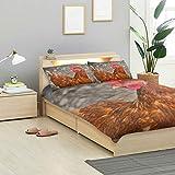 MONTOJ Juego de sábanas de gallina y gallina para cama de gallina, tamaño estándar, funda de edredón para niños, 3 piezas