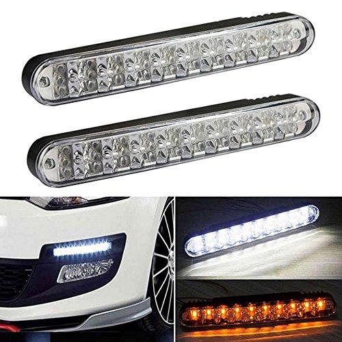 Universal 30 SMD LED Tagfahrlicht Auto Lampe DRL TFL Weiß Gelb Blinker + E-Prüfzeichen RL0087