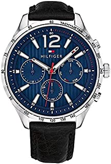 Tommy Hilfiger Men's Casual Stainless Steel, Blue Dial Watch with Leather Strap - Black