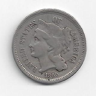 Civil War Era Nickel 1866 U.S. Three Cent Piece Coin