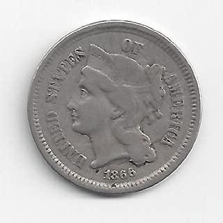 REEDERSONG Civil War Era Nickel 1866 U.S. Three Cent Piece Coin