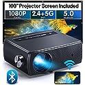 "ClokoWe YG661 1080p Bluetooth & WiFi Mini Projector with 100"" Screen"