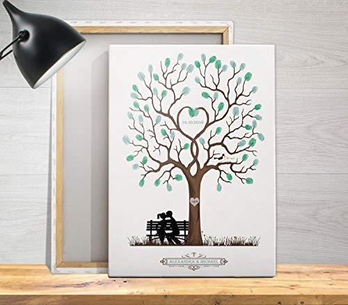 Hochzeits-baum für Fingerabdrücke als Gästebuch, Wedding-tree, personalisiert Leinwand o. Papier